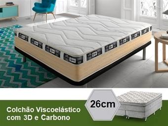 Colchão Viscoelástico Eco 3D Carbono Ativo de Casal ou Solteiro com 26 cm de Altura desde 185€. PORTES INCLUIDOS.