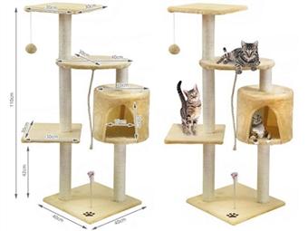 Árvore para Gatos por 54€. Pode ter as unhas afiadas, tem plataformas para descansar, brincadeiras e até uma casinha para dormir. PORTES INCLUIDOS.
