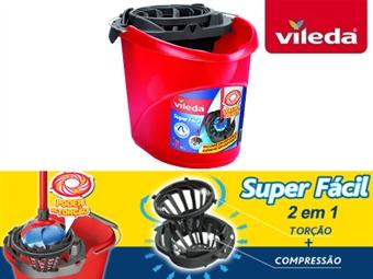 Balde Vermelho com Espremedor Superfácil 2 em 1 da VILEDA com poder de torção e compressão por 14€. PORTES INCLUIDOS.