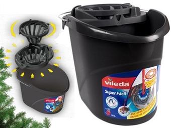 Balde Cinzento com Espremedor Superfácil 2 em 1 da VILEDA com poder de torção e compressão por 14€. PORTES INCLUIDOS.