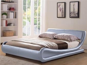 Cama de Casal em Pele Sintética Prata com 2 Tamanhos à Escolha desde 295€. Um design moderno e confortável para o seu quarto. PORTES INCLUÍDOS.