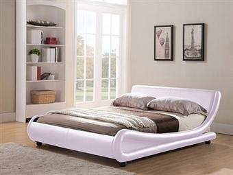 Cama de Casal em Pele Sintética Branco-Rosa com 2 Tamanhos à Escolha desde 295€. Um design moderno e confortável para o seu quarto. PORTES INCLUÍDOS.