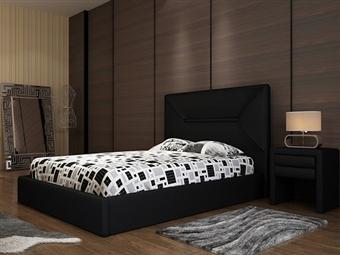 Cama de Casal em Pele Sintética Preta com 3 Tamanhos à Escolha desde 219€. Um design elegante e confortável para o seu quarto. PORTES INCLUÍDOS.