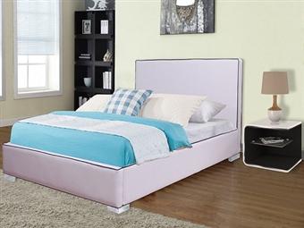Cama de Casal em Pele Sintética Branco-Rosa com 2 Tamanhos à Escolha desde 199€. Um modelo acolhedor para o seu quarto. PORTES INCLUÍDOS.