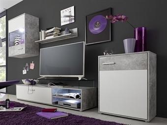 Móveis de Sala em Branco e Cinza por 259€. Uma linha onde a arte e a tecnologia se unem para a sua sala. PORTES INCLUÍDOS.