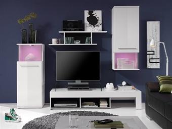 Móveis de Sala em Branco Lacado por 259€. Uma linha onde a arte e a tecnologia se unem para a sua sala. PORTES INCLUÍDOS.