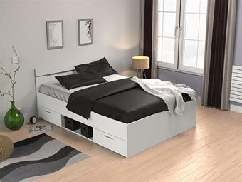 Cama de Casal em Branco Pérola para Colchão de 190x140cm por 175€. Um design prático e confortável para o seu quarto. para o seu quarto. PORTES INCLUÍDOS.