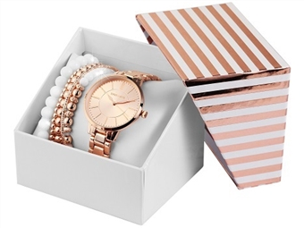 Conjunto de Relógio de Pulso e Pulseiras Excellanc Rose Gold por 27€. Elegância Intemporal. PORTES INCLUÍDOS.
