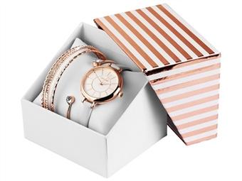 Conjunto de Relógio de Pulso e Pulseiras Excellanc Rose Gold White por 27€. Elegância Intemporal. PORTES INCLUÍDOS.
