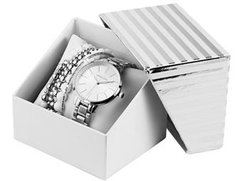 Conjunto de Relógio de Pulso e Pulseiras Excellanc Silver por 27€. Elegância Intemporal. PORTES INCLUÍDOS.