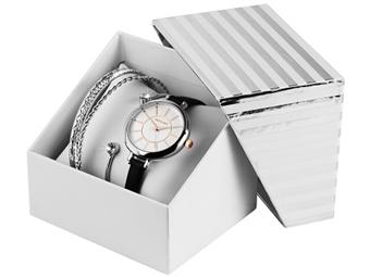 Conjunto de Relógio de Pulso e Pulseiras Excellanc Silver Black por 27€. Elegância Intemporal. PORTES INCLUÍDOS.