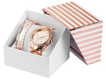 Conjunto de Relógio de Pulso e Pulseiras Excellanc MK por 27€. Elegância Intemporal. PORTES INCLUÍDOS.