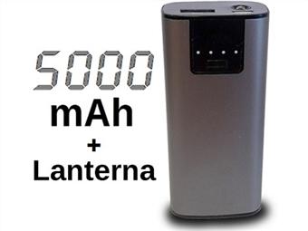 Power Bank 5000 mAh Metálica: Carrega Smartphones ou Tablets por USB com Lanterna Integrada por 14.50€. Não fique sem bateria! PORTES INCLUÍDOS.