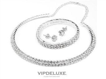 Conjunto VERSALLES: Composto por Colar, Bracelete e Par de Brincos Banhados em Ouro Branco de 18K com CRISTAIS SWAROVSKI por 29€. PORTES INCLUÍDOS.