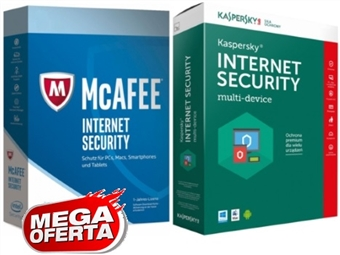 MEGA OFERTA = Internet Security: McAfee ou Kaspersky desde 13€. Software de Segurança Máxima Online durante 1 Ano. ENVIO INCLUÍDO.