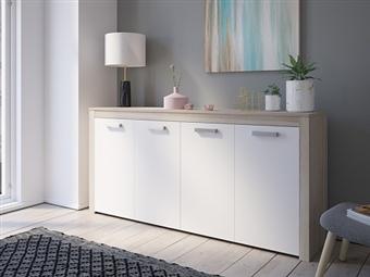Aparador de 4 Portas em Carvalho Claro e Branco por 195€. Um design europeu com estilo moderno para a sua sala. PORTES INCLUÍDOS.