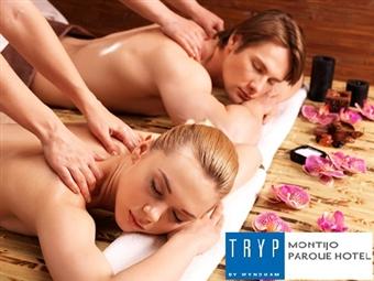 TRYP Montijo Parque Hotel 4*: 1 Noite com Pequeno-almoço, Massagem de Relaxamento e Tratamento VIP Quarto por 60€. Relaxe junto ao Rio Tejo!