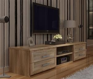 Móvel de TV com 4 Gavetas e 2 Prateleiras em Carvalho Claro por 135€. Um design moderno para viver as emoções da 7ª arte na sua sala. PORTES INCLUÍDOS.