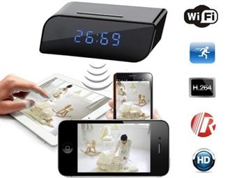Relógio Despertador com Câmara HD de Monitorização e Visão Noturna, Gravação Micro SD e Ligação WiFi ao seu Smartphone por 49.95€. PORTES INCLUIDOS.