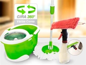 Conjunto de Limpeza Mágico 360º com Esfregona Rotativa, Balde com Tambor Inox e Limpa Vidros com Spray desde 11€. PORTES INCLUIDOS.