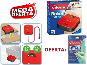 MEGA OFERTA da VILEDA: Robot Aspirador VR101 + Luvas Extra Sensation Super Finas por 99€. Ver Video. ENVIO IMEDIATO e PORTES INCLUIDOS.
