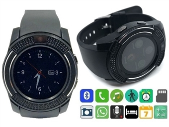 Smartwatch Telemóvel PROTONE Preto com Bluetooth, Câmara, Chamadas, SMS, Música, Pedômetro e Compatível com o Android e IOS por 28€. PORTES INCLUÍDOS.