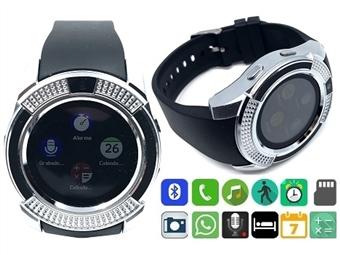 Smartwatch Telemóvel PROTONE Prata com Bluetooth, Câmara, Chamadas, SMS, Música, Pedômetro e Compatível com o Android e IOS por 28€. PORTES INCLUÍDOS.