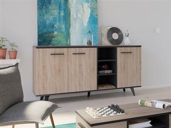 Aparador de 3 Portas e 3 Prateleiras em Carvalho Claro e Preto por 205€. Um design de nova geração para a decoração da sua sala. PORTES INCLUÍDOS.