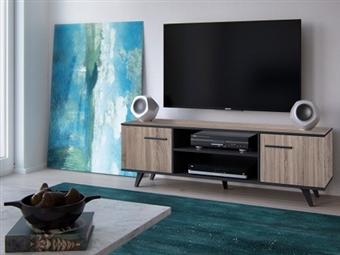 Móvel de TV com 2 Portas e 2 Prateleiras em Carvalho Claro e Preto por 155€. Um design de nova geração para desfrutar na sua sala. PORTES INCLUÍDOS.