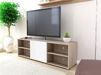 Móvel de TV com 1 Porta e 4 Prateleiras em Carvalho Claro e Branco por 136€. Um design europeu para desfrutar na sua sala. PORTES INCLUÍDOS.