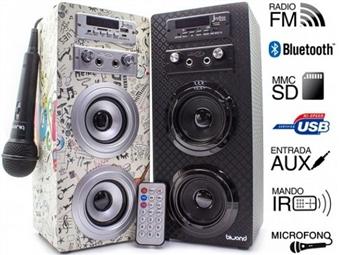 Coluna Portátil Karaoke Guitar com Amplificador, Microfone, Comando, Rádio FM, Bluetooth, SD, MMC, AUX e USB por 39€. PORTES INCLUIDOS.