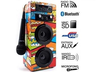 Coluna Portátil Karaoke Comic com Amplificador, Microfone, Comando, Rádio FM, Bluetooth, SD, MMC, AUX e USB por 39€. PORTES INCLUIDOS.