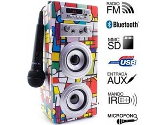 Coluna Portátil Karaoke Picasso com Amplificador, Microfone, Comando, Rádio FM, Bluetooth, SD, MMC, AUX e USB por 39€. PORTES INCLUIDOS.