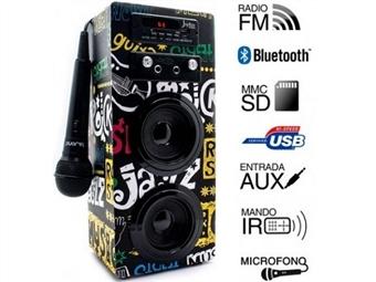Coluna Portátil Karaoke Band com Amplificador, Microfone, Comando, Rádio FM, Bluetooth, SD, MMC, AUX e USB por 39€. PORTES INCLUIDOS.
