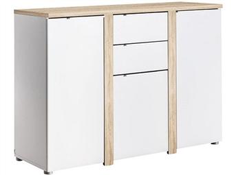 Aparador de 3 Portas e 2 Gavetas em Carvalho Claro e Branco por 149€. O elemento ideal para o conforto da sua sala. PORTES INCLUÍDOS.