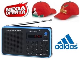 MEGA OFERTA: Rádio Digital Portátil Azul com Pré-sintonizações e MP3 por 20€. OFERTA: Boné Adidas Portugal FIFA World Cup. ENVIO IMEDIATO e PORTES INCLUÍDOS.