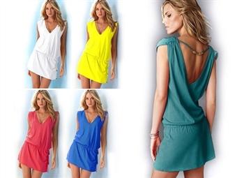 Vestido de Verão com Tamanho Único e 4 Cores à escolha por 11.50€. Um vestido deslumbrante, confortável e leve para este verão. PORTES INCLUÍDOS.