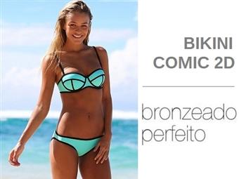 Bikini Comic 2D em Turquesa com 3 Tamanhos à escolha por 16.50€. O Bikini que favorece um bronzeado perfeito para este verão. PORTES INCLUÍDOS.