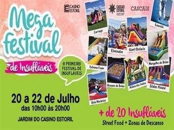 Mega Festival de Insufláveis no Jardim do Casino do Estoril com zona de descanso e street food. Dia inteiro por 4.75€ por pessoa.