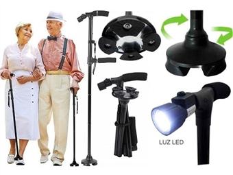 Bengala Desdobrável com Luz LED e Base Especial por 19.90€. Equilíbrio perfeito, ajustável em altura, anti-deslizante e flexível. PORTES INCLUÍDOS.