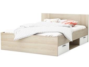 Cama de Casal em Carvalho e Branco Pérola para Colchão de 190x140cm com 2 Gavetas por 149€. Um design prático e confortável para o seu quarto. PORTES INCLUÍDOS.