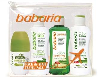 Bolsa de Viagem da BABARIA com Gel de Banho, Body Milk, Champô Nutritivo e Desodorizante Roll-on Olive Oil por 11€. ENVIO IMEDIATO e PORTES INCLUIDOS.