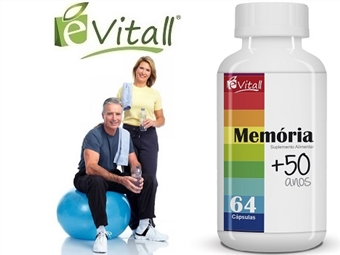 Memória +50 Anos da é-Vitall: Frasco de 64 Cápsulas desde 11€. Melhor Memória, Motivação e Habilidades Motoras. ENVIO IMEDIATO e PORTES INCLUÍDOS.