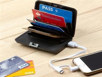 Porta-Cartões de Segurança e Power Bank de 1800 mAh com Cabo USB por 17€. VER VIDEO. PORTES INCLUÍDOS.