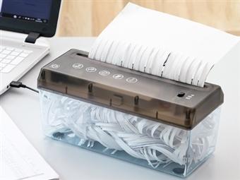Trituradora Portátil de Papel até A4 por 25€. Carga por USB ou Pilhas. PORTES INCLUÍDOS.