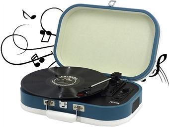 Gira-discos Vintage Portátil com 2 Cores à escolha: 2 Colunas Integradas, Bluetooth e Converte Vinis em MP3 via USB por 69€. PORTES INCLUÍDOS.