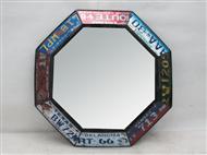 Espelho Vintage Metálico Redondo feito com Matrículas.