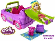 Polly Pocket CARRO ESCORREGA. O tejadilho do novo descapotável da Polly.
