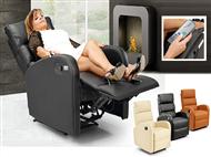 Poltrona com Massagens por Vibração, Inclinação, Aquecimento Lombar, Comando e 3 Cores à escolha.