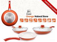 3 Frigideiras Orange Natural Stone com 2 Tampas. PORTES INCLUÍDOS.